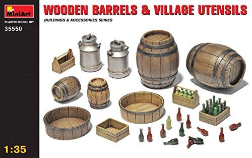 Unbekannt MINIART MIN35550 Wooden Barrels & Village Utensils KIT 1:35 MODELLINO Model kompatibel mit Utensil Kit