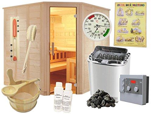 All Inclusive Sauna Massivholzsauna 40mm Blockbohlensauna Saunakabine Heimsauna