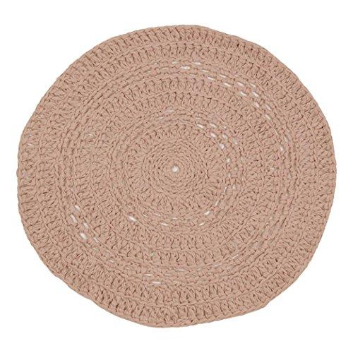 Naco trade Pivoine Chalky Pastel Crochet Tapis, Medium, Poudre Rose