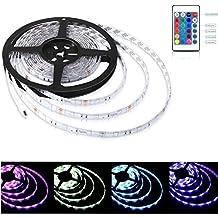 Aglaia Tira LED de Luz RGB 5M, 150 Unidades 5050 SMD LED, Impermeable IP65 y Kit Completo con 24 Tecla IR Remoto y Adaptador, Ideal para Decoración del Partido Fiesta