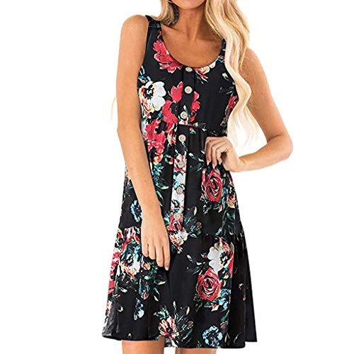 Wawer Damen Sommerkleid Kleider Teen Mädchen Partykleid Holiday Summer Beach Solide Frauen Kurze Ärmel Tasten Kurzarm Knopf Casual Kleid