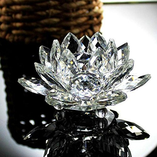 Licht-kristall-glas (Xshuai Wohnaccessoires Lotus Kristall Glas Figur Briefbeschwerer Ornament Feng Shui Dekor Kollektion Mode neu (mehrfarbig) (A))