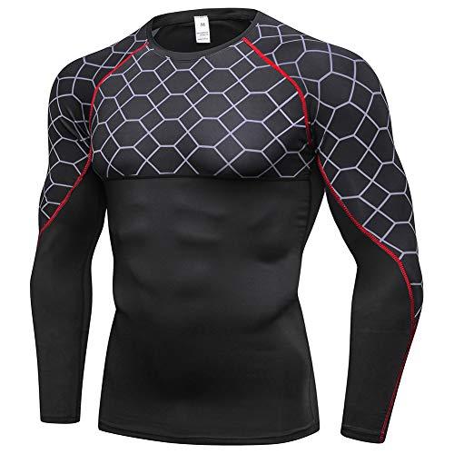 Shengwan Kompressionsshirt Herren Mesh-Druck Langarm Fitness Gym Bodybuilding Trainieren Funktionsshirts Tops Rot Linie XXL -