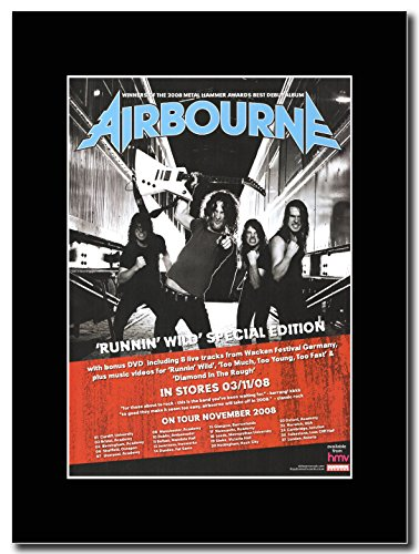 Airbourne-Runnin Wild Magazine Promo su un supporto, colore: nero