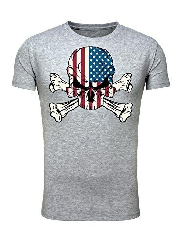 Legendary Items T-Shirt US Skull Totenkopf Amerika USA Printshirt Badboy Outlaw grau (Punk Kostüm Skull)