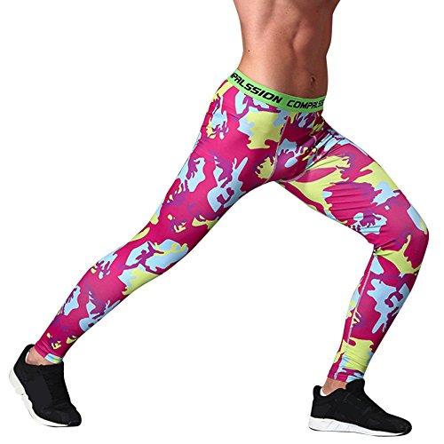 Topgrowth Pantaloni Mimetici Uomo Sport Palestra Esercizio collant Casuele Fitness Elastico Leggings Rosa