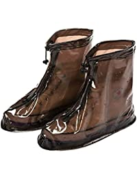 Eagsouni® A Pair Reusable Rain Snow Waterproof Shoe Covers Guard Slip-resistant Zippered Overshoes Rainy Boots Protective Gear for Women Mens Boys Girls