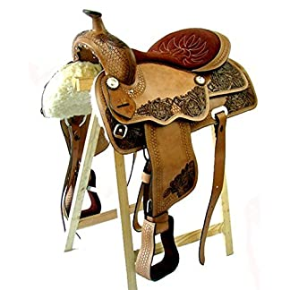A&M Reitsport Western Saddle Dallas Buffalo Leather New 15