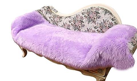 Icegrey Shaggy Tapis En Imitation Peau De Mouton Laine Tapis En Fausse Fourrure Décoration de Coussin Siège Pour Chambre à Coucher Salon Violet 60x90cm