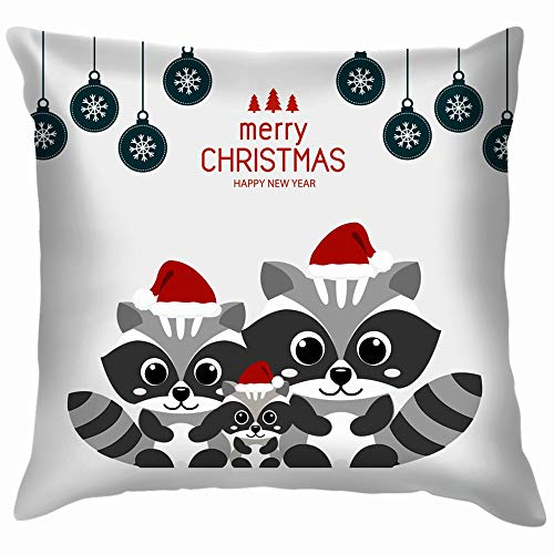Merry Christmas Greeting Card Raccoons Costumes Animals Wildlife Animal Holidays Pillow Case Throw Pillow Cover Square Cushion Cover 18X18 Inch