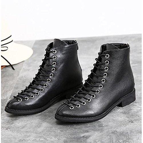 HSXZ Scarpe donna vera pelle Autunno Inverno combattere Stivali Stivali tacco piatto Round Toe stivaletti/stivaletti di abbigliamento casual nero Black