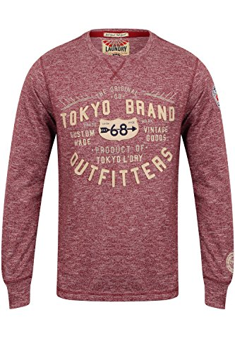 Tokyo Laundry Herren Blusen Langarmshirt Timperley - Oxblood Red