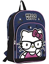 """Hello Kitty With Nerd Glasses Backpack: 16"""", Adjustable Padded Straps, Pink Trim, Navy With Stars"""