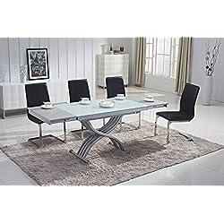 Mobilier Deco Table Basse relevable en Verre avec rallonge (Table Transformable)