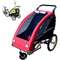 Papilioshop Fox - Remolque con carrito de bicicleta para el transporte de 1 niño (incluye rueda delantera giratoria, plegable), rojo