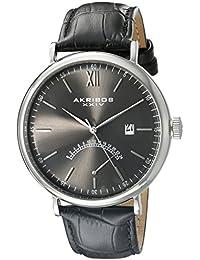 Akribos XXIV Reloj de hombre de cuarzo con Esfera Analógica Gris y Negro Correa de piel ak845ssb