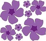 Retro Blumen Set lila 30x30cm hochwertige UV-beständige Aufkleber für Auto,Wand,Laptop,Fliesen,Bad,Badezimmer,WC, und alle glatten Flächen aus Hochleistungsfolie ohne Hintergrund, Blume,Blumen,Hibuskus, Hibiscus,Blüte,Blüten,Hibiskusblüte,Hibiskusblüten,Hibiscusblüte,Hibiscusblüten,Hawai,Hawaiblumen,Hawaiblüte,Sticker,Blumensticker,Decals,Vinyl, Art.Nr.202