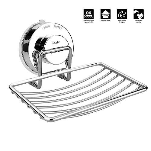 Locisne Wall Mounted Soap Dish Holder Basket, Rustproof Stainless Steel Shower Caddies Suction Soap Saver Storage Deep Basket Quick Dry No Drilling Organizer for Bathroom Kitchen
