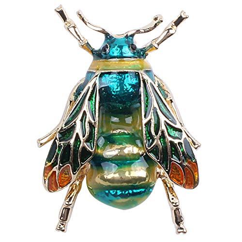 Schmuck Kostüm Pins - TOOGOO Modische Bumble Bee Crystal Brosche Pin Kostuem Abzeichen Party Schmuck Geschenk gruene Biene