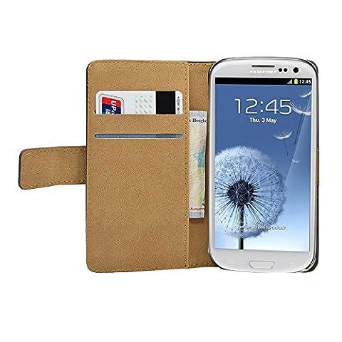 Noir Portefeuille Cuir Étui Coque pour Samsung i9300 / GT-i9300 Galaxy S3 SIII - Flip Case Cover