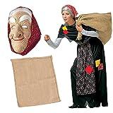 SET Costume da BEFANA per adulti COMPLETO + MASCHERA BEFANA + SACCO vestito Epifania (COSTUME + SACCO + MASCHERA)