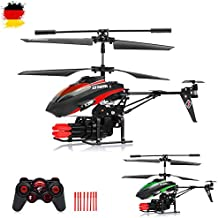 3.5 Kanal RC ferngesteuerter Modellbau-Hubschrauber mit Schussfunktion und Gyro-Technik für Hobby-Flieger, Ready-to-Fly Heli-Modell, Komplett-Set