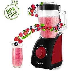 Aigostar Pomegranate 30JDF - Mixeur blender multifonction sans BPA. 750 W et deux vitesses, fonction glace pilée. Jarre en verre de 1,5 litres et 4 lames en acier inoxydable de qualité alimentaire.