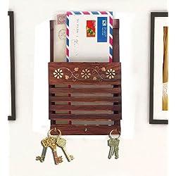 Regalo per Natale o compleanno ai vostri cari Indiabigshop legno Striscia design Lettera cum Portachiavi con lavoro intarsiato