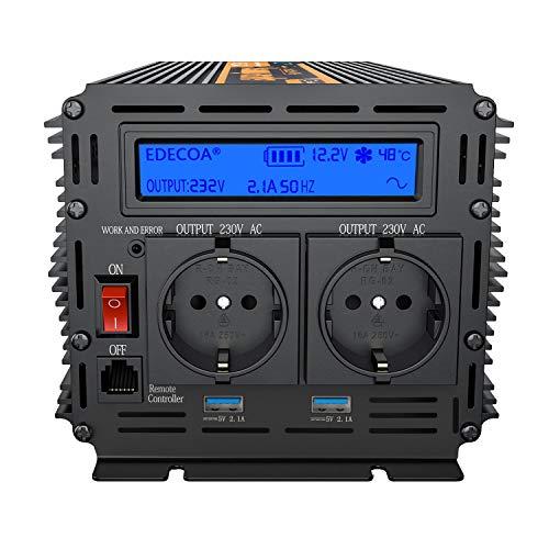 EDECOA inversor 12v 220v onda pura 1500w transformador