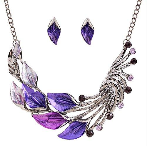 CLOCOLOR Collar de cristales diamantes gotas de colores estilo retro p