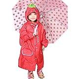 Liyinguk Cartoon Poncho de Pluie Enfant Veste Imperméable Style Animaux à Capuche Longue EVA Manteau Etanche Cape Protection Coupe-Vent Anti-Pluie Raincoat Adorable Léger Pliable Unisexe Fille/Garçon - Rouge