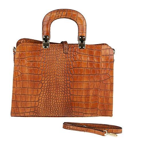 Chicca Borse Frau Handtasche mit Schultergurt aus echtem Leder Made in Italy Python Pattern 37x26x14 Cm Bräunen