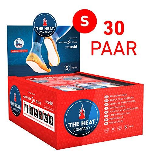 The HEAT company Sohlenwärmer SELBSTKLEBEND 8 Stunden Wärmedauer Wärmesohle Fußwärmer Schuhheizung Fußheizung, SMALL: Grösse 36-40; Vorratsbox 30 Paar.