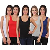 Flyura Activewear Running Workouts Clothes Yoga Racerback Tank Tops For Women - (Pack Of 5)