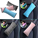 MASO Seat belt Pillow, 2Pcs Car Seat Belt Covers for Kids, Adjustable Protector Cushion Shoulder Pads, Plush Soft Auto Seat Belt Strap Cover Headrest Neck Support for Children Baby(Pink & Gray)