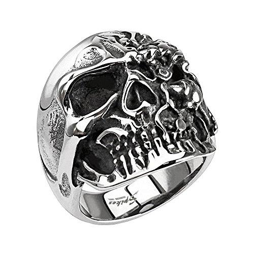 Aus Kreuz Ringe Skull Edelstahl (Mianova Herren Ring Edelstahl Massiv Breit Herrenring Männer Biker Rocker Schmuck Totenkopf mit 2 Gesichter Größe 59 (18.8))