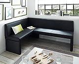 generisch Eckbank Kunstleder Esszimmerbank Sitzbank Sitzecke Küchen-Bank (140x200, schwarz)