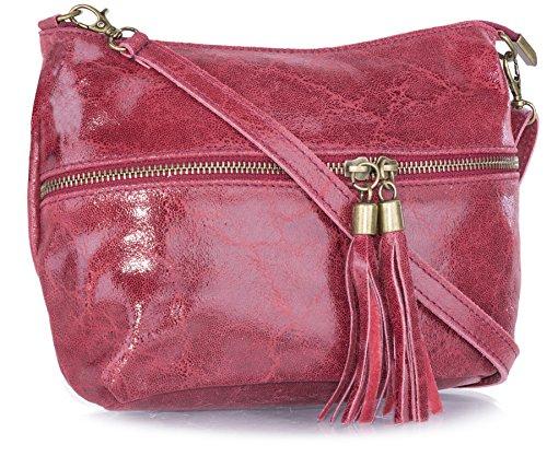 Big Handbag Shop donna vera pelle tasca frontale lunga Tassel Estrattore Borsa Deep Red