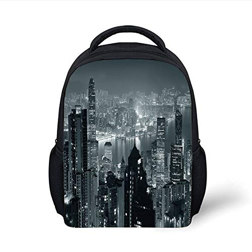 Kids School Backpack City Decor,Aerial Night of View Hong Kong Skyline Famous Modern Urban Town Metropolis Panorama,Grey Plain Bookbag Travel Daypack -