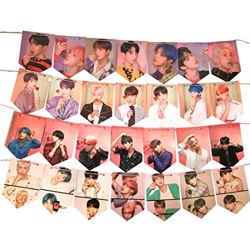 BTS Flaggen mit Karte der Seele, zum Aufhängen, mit 8 m langem Schnur für BTS Armee Geburtstag Party Zuhause Dekoration, 28 Stück -