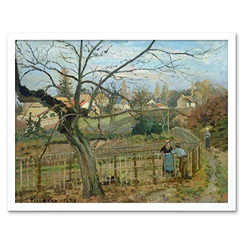 Wee Blue Coo LTD Camille Pissarro French Fence Old Painting Art Print Framed Poster Wall Decor Kunstdruck Poster Wand-Dekor-12X16 Zoll