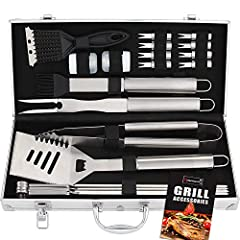 Idea Regalo - 20pcs Set Accessori Barbecue Utensili Barbecue in Acciaio Inox - Attrezzi per Barbecue Kit Barbecue - Regalo di papà Ideale per Compleanno