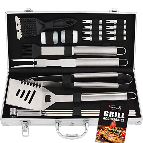 20pcs set accessori barbecue utensili barbecue in acciaio inox - attrezzi per barbecue kit barbecue - regalo di papà ideale per compleanno