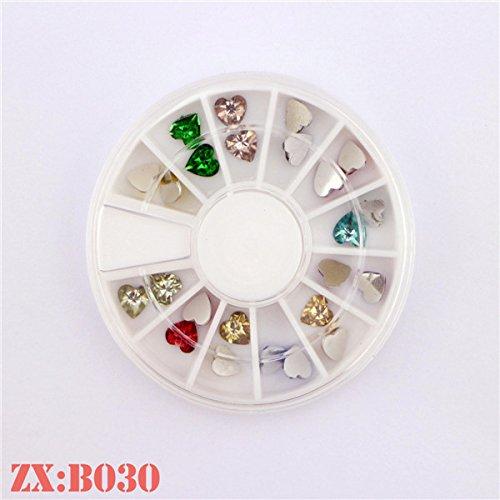 Nouveau design 12 Couleur Mini Boîte 3D Nail bijoux Sweet Heart ongles Nail Art strass pour beauté
