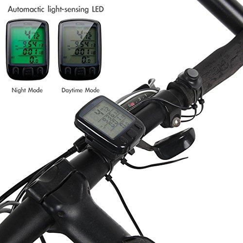 MPTECK @ Fahrradcomputer LCD Wasserdicht Fahrrad Fahrradtacho mit LCD Hintergrundlicht und Multifunktions für Tracking Geschwindigkeit und Distanz - 3