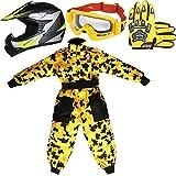 Leopard LEO-X19 Amarillo Casco de Motocross para Niños (M 51-52cm) + Gafas + Guantes (M 6cm) + Camo Traje de Motocross para Niños - S (5-6 Años)