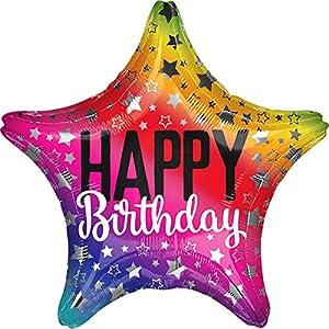 Amscan International 3522801 - Globo de cumpleaños con diseño de estrella arcoíris