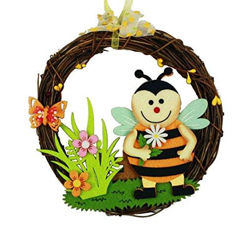 HAAC Rattan Deko Kranz Türkranz Frühling Ostern mit Biene oder Marienkäfer und Schmetterling Blumen 18 cm