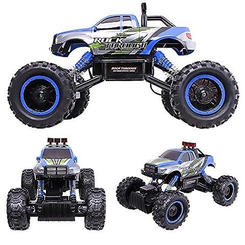 HUKOER Rock Crawler RC Car - 4x4 voiture de contrôle à distance - 1/14 Rock Rock Crawler maître avec contrôleur 2.4Ghz (bleu)