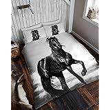 Wild @ Corazón Juego de cama (con fundas de almohada, Ropa de cama cama de juego de ropa de cama (Tamaño Doble King by Sady–Juego de funda nórdica, algodón poliéster, caballo, matrimonio
